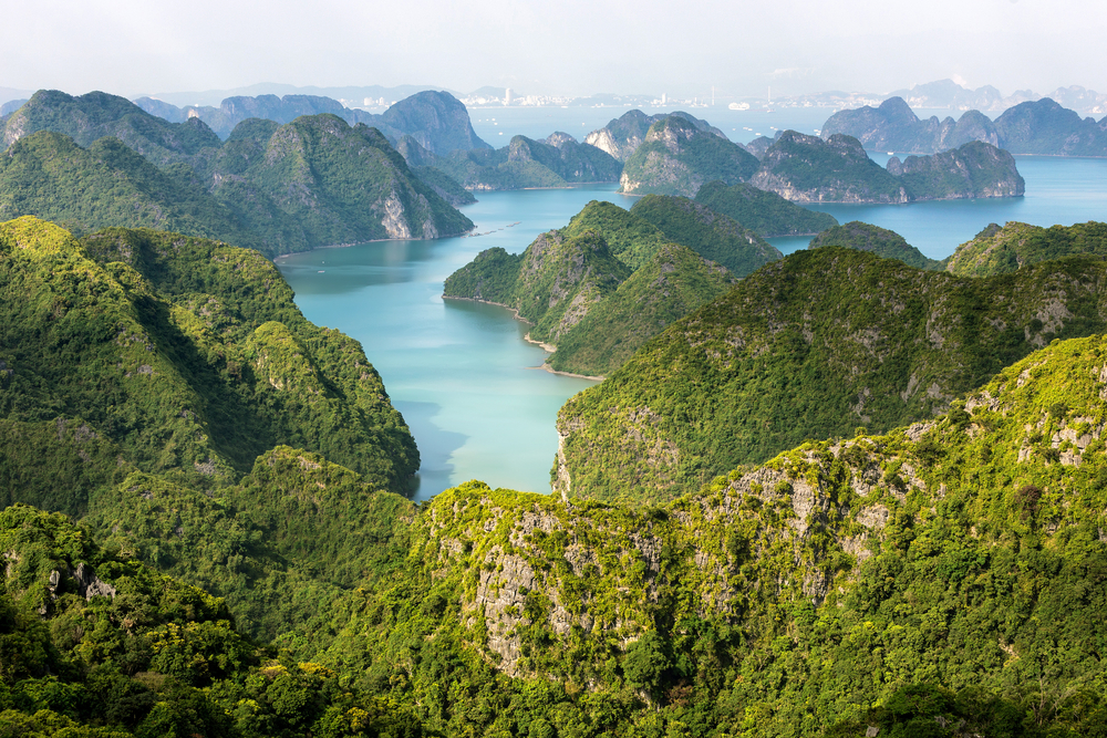 Cat Ba Island's panoramic viewpoint from Canon Fort